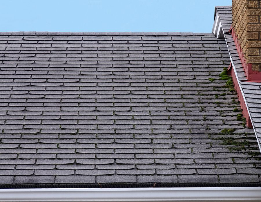 Damaged Roof that needs repair with broken asphalt shingles
