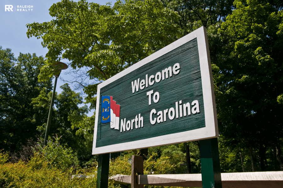 Clayton, NC welcome to North Carolina sign that reads