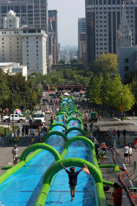 Slide the City Downtown Raleigh on Glenwood Ave