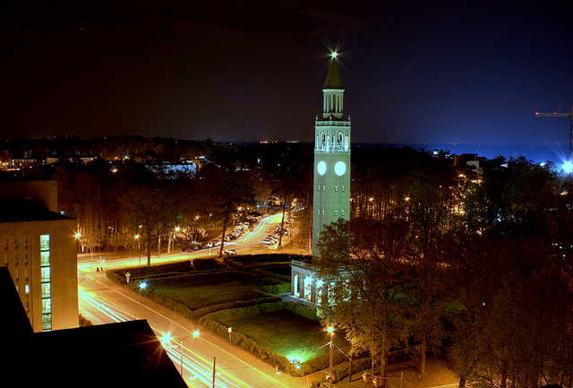 Chapel Hill, NC Belltower at Night UNC Campus